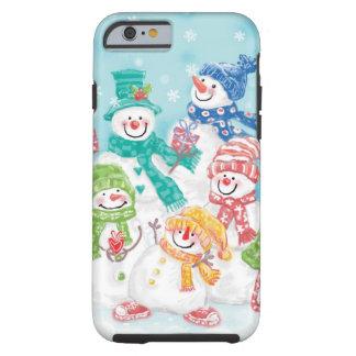 Coque iPhone 6 Tough Famille mignonne de bonhomme de neige de Noël dans