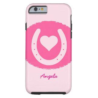Coque iPhone 6 Tough fer à cheval et coeur roses