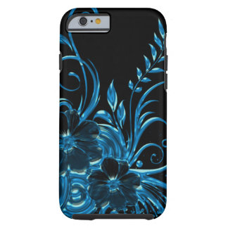 Coque iPhone 6 Tough Fleur métallique et remous de fleur dans le bleu