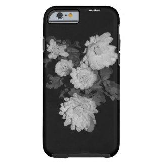 Coque iPhone 6 Tough Fleurs foncées (noires/blanc) dures/cas de la