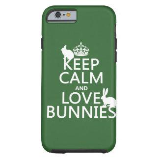 Coque iPhone 6 Tough Gardez le calme et aimez les lapins - toutes les