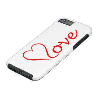 Coque iPhone 6 Tough Love coeur sur l'arrière-plan blanc