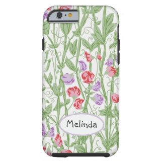 Coque iPhone 6 Tough Monogramme personnalisé par motif floral de pois