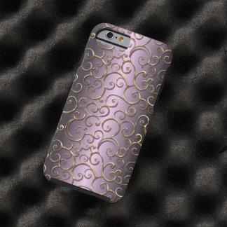 Coque iPhone 6 Tough Motif baroque antique fleuri de remous d'or de