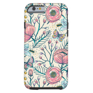Coque iPhone 6 Tough Motif de fleur vintage Girly de roseraie