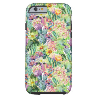 Coque iPhone 6 Tough Motif de floraison exotique de cactus d'aquarelle