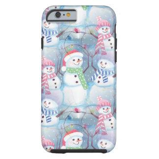 Coque iPhone 6 Tough Motif drôle coloré mignon de bonhommes de neige de