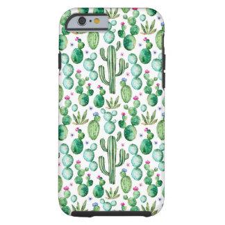 Coque iPhone 6 Tough Motif d'usines de cactus d'aquarelle