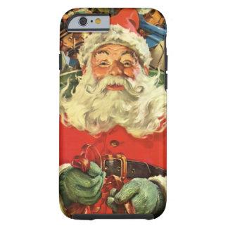 Coque iPhone 6 Tough Noël vintage, le père noël dans Sleigh avec des
