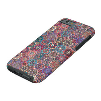 Coque iPhone 6 Tough Patchwork vintage avec les éléments floraux de