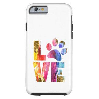 Coque iPhone 6 Tough Patte d'amoureux des chiens de chat. Art