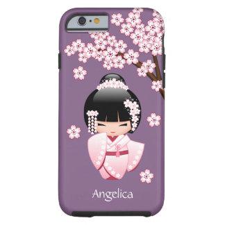 Coque iPhone 6 Tough Poupée blanche de Kokeshi de kimono - fille de