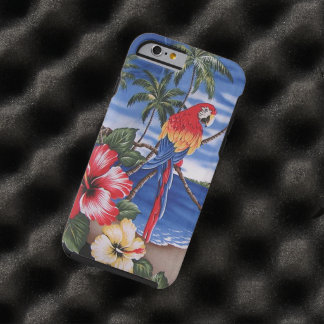 Coque iPhone 6 Tough Scène hawaïenne d'été de plage d'aras colorés