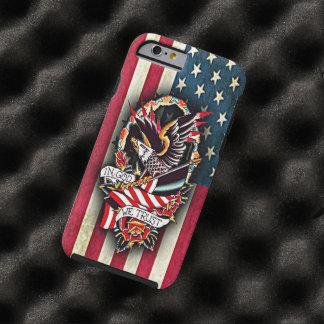 Coque iPhone 6 Tough Tatouage patriotique vintage d'Eagle chauve de
