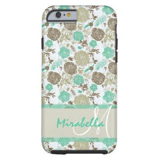 Coque iPhone 6 Tough Vert luxuriant de menthe de pastel, roses beiges