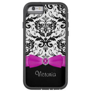 Coque iPhone 6 Tough Xtreme Caisse noire rose de l'iPhone 6 de Xtreme de motif