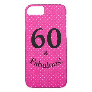 Coque iPhone 7 60 et pois rose lumineux d'anniversaire fabuleux