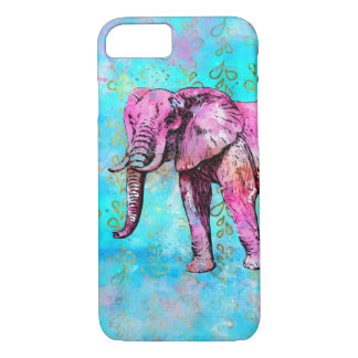Coque iPhone 7 À la mode bleu de rose d'aquarelle d'éléphant