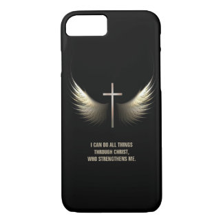Coque iPhone 7 Ailes de Saint-Esprit et croix chrétienne