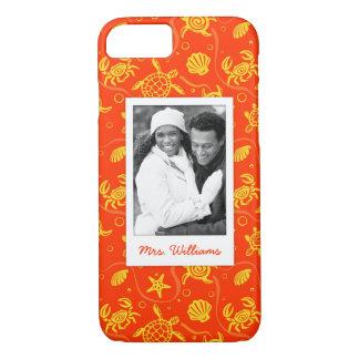 Coque iPhone 7 Ajoutez votre motif orange de plage de la photo |