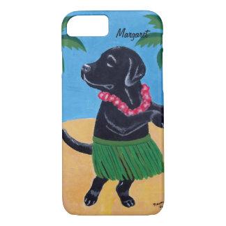 Coque iPhone 7 Aloha caisse noire personnalisée de Labrador