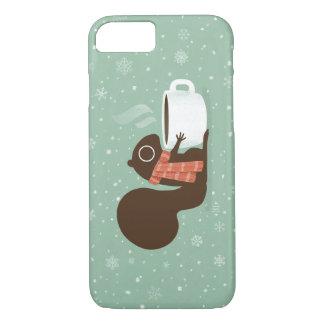 Coque iPhone 7 Amant de café d'écureuil avec l'écharpe rayée