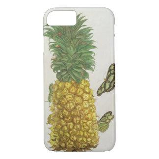 Coque iPhone 7 Ananas avec la chenille et les papillons (main-c