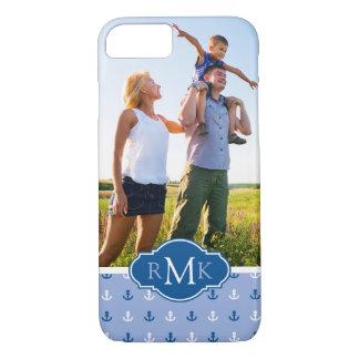 Coque iPhone 7 Ancre mignonne Pattern| votre photo et monogramme