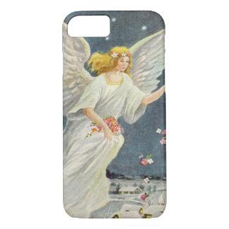 Coque iPhone 7 Ange victorien de Noël vintage avec des roses