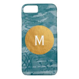 Coque iPhone 7 Aquarelle de Digitals peignant le monogramme d'or