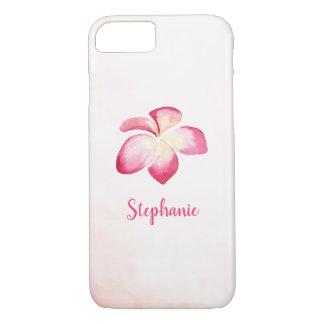 Coque iPhone 7 Aquarelle de rose de Plumeria de coucher du soleil