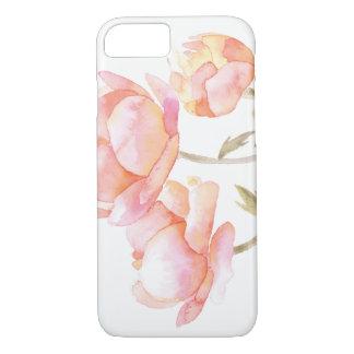 Coque iPhone 7 Aquarelle florale - pivoine de pêche