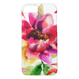 Coque iPhone 7 Aquarelle moderne rose florale Girly