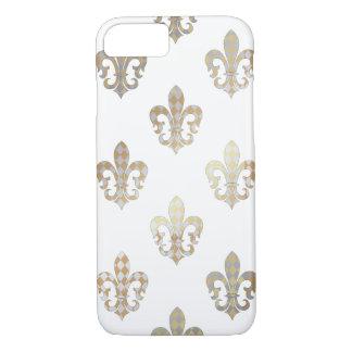 Coque iPhone 7 Arrière - plan argenté de PixDezines gold fleur de