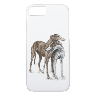 Coque iPhone 7 Art de chien de deux amis de lévrier