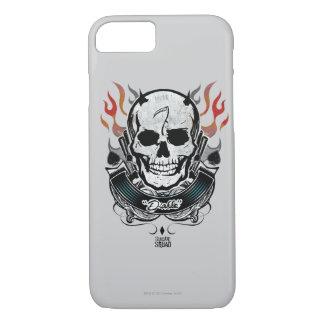 Coque iPhone 7 Art de tatouage de crâne et de flammes du peloton