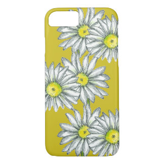 Coque iPhone 7 Art floral de jaune de moutarde de cas de