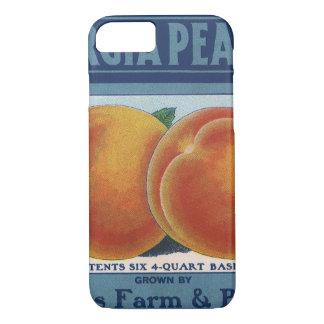 Coque iPhone 7 Art vintage d'étiquette de caisse de fruit, pêches