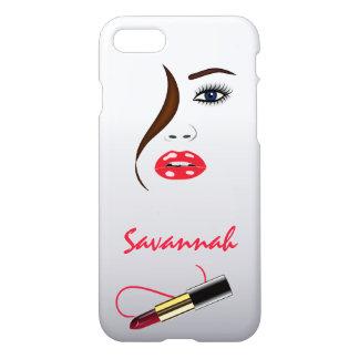 Coque iPhone 7 Baiser de rouge à lèvres de visage et de rouge