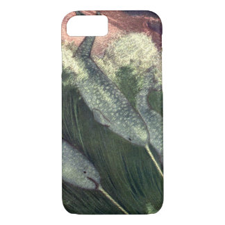 Coque iPhone 7 Baleines vintages de Narwhals, animaux d'océan