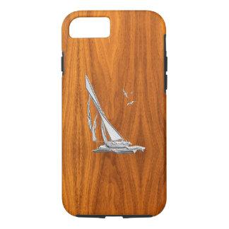 Coque iPhone 7 Bateau à voile nautique de chrome sur la copie en
