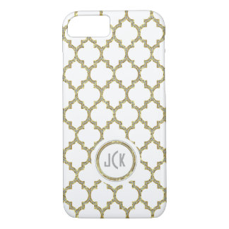 Coque iPhone 7 Blanc moderne et or et scintillement Quatrefoil