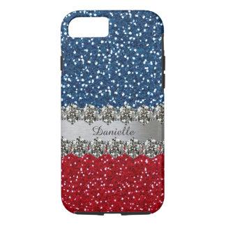 Coque iPhone 7 Bleu blanc rouge de Bling de Faux patriotique