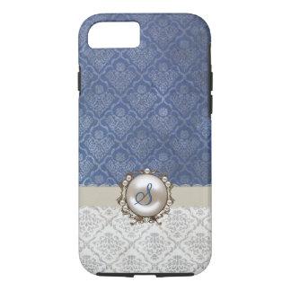 Coque iPhone 7 Bleu chic et caisse blanche de l'iPhone 7 de