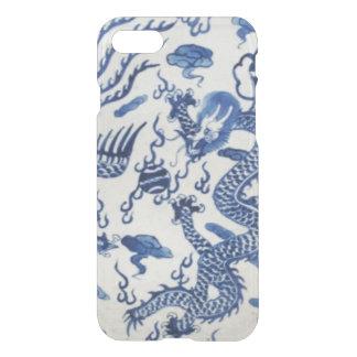Coque iPhone 7 Bleu chinois vintage du Monaco de chinoiserie de