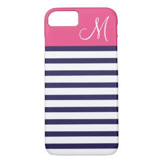 Coque iPhone 7 Bleu marine et monogramme de très bon goût rose de