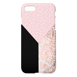 Coque iPhone 7 Bloc tiré par la main d'or rose floral rose de