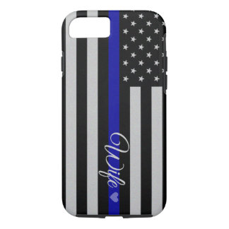 Coque iPhone 7 Blue Line mince diminuent