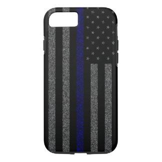 Coque iPhone 7 Blue Line mince marquent la caisse grunge de
