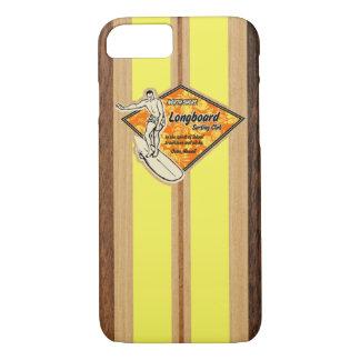 Coque iPhone 7 Bois hawaïen de Faux de planche de surf de Waimea